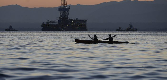 Kayakers in Puget Sound at dusk, June 30, 2015. USCG photo.