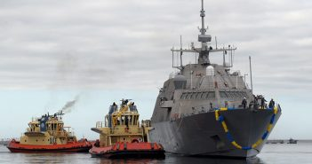 The Freedom-class littoral combat ship Fort Worth (LCS 3) arrives in its new home port of San Diego after its commissioning in 2012. U.S. Navy photo.