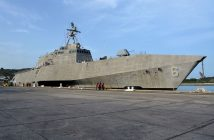 The littoral combat ship Jackson (LCS 6), moored at Naval Station Guantanamo Bay, Cuba, to refuel in September 2016. U.S. Navy photo.
