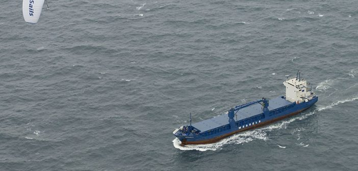 A wind propulsion system powers the cargo ship Michael A. SkySails photo.