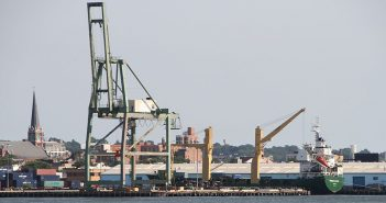 Marad awarded a grant for an existing container-and-trailer-on-barge service that operates in New York Harbor between Red Hook Container Terminal in Brooklyn, N.Y. (above), to Red Hook Barge Terminal in Newark, N.J. Creative Commons photo by Bjoertvedt.