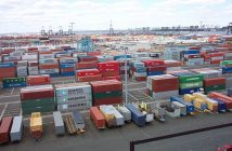 Shipping containers at the terminal at Port Elizabeth, NJ. NOAA photo.
