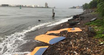 """An image from the """"evidence"""" section of artist Joe Reginella's website purports to show pieces of the lost ferry at the center of his multimedia art installation. Photo from the """"Staten Island Ferry Disaster Memorial Museum"""" website."""