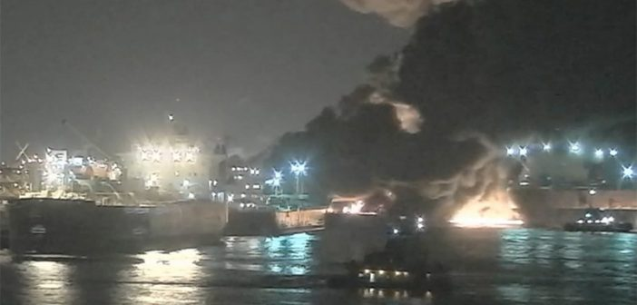Smoke billows from the Aframax River. Screenshot from video provided by Harris County Sheriff's Department.