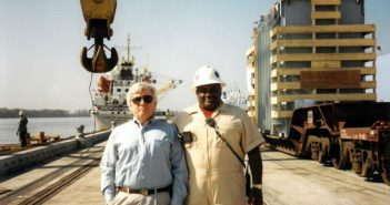 """W.A. """"Cappy"""" Bisso III, left, with Louis Barrio in 1995. Bisso Marine photo."""