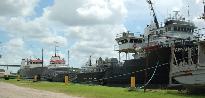 Stacked vessels in Louisiana in August 2016. Ken Hocke photo.