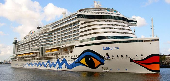 The AIDAprima is LNG-powered while docked. Carnival Corporation has ordered seven fully LNG-powered new ships and struck a deal with Shell for fueling services. Creative Commons photo by Mussklprozz.