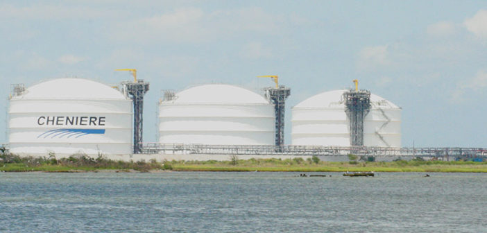Tanks at Cheniere Energy's Sabine Pass terminal in Louisiana. Creative Commons photo by Roy Luck.