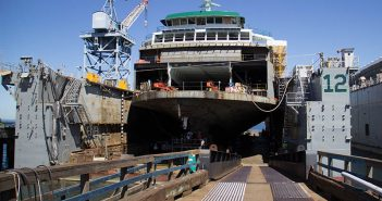 The third of four Olympic-class ferries under construction at Vigor Industrial's Seattle yard for Washington State Ferries. WSF photo.
