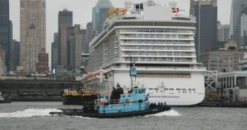 Donjon Marine's tugboat Emily Ann passes the cruise ship Norwegian Breakaway and a fuel barge at New York's West Side piers. Kirk Moore photo.