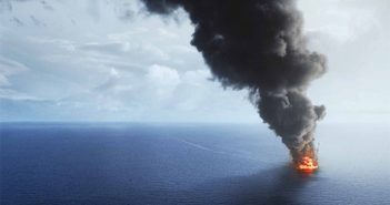 """A still from the """"Deepwater Horizon"""" film shows the rig ablaze. Summit Entertainment photo."""