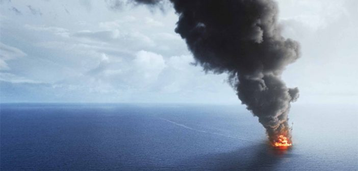 "A still from the ""Deepwater Horizon"" film shows the rig ablaze. Summit Entertainment photo."