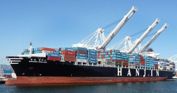 A Hanjin containership at the Port of Oakland. Creative Commons photo by Ingrid Taylar.