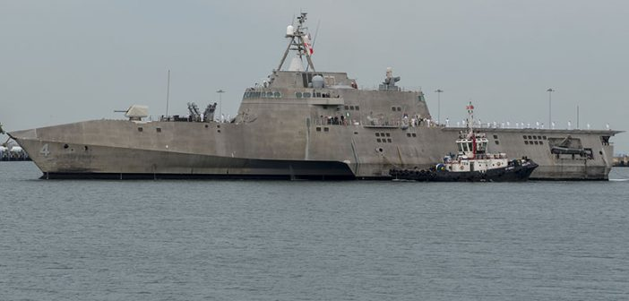 Austal christened the seventh of 12 LCSes like the one here to the Navy on Saturday. Navy photo