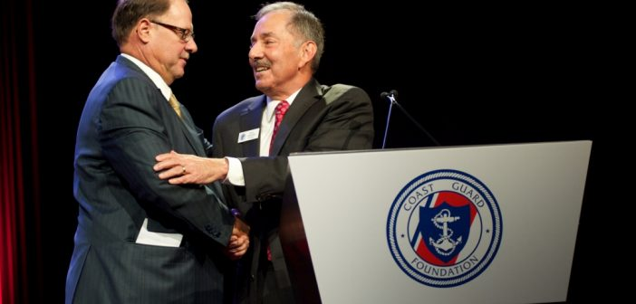Morton S. Bouchard III, left, with Coast Guard Foundation chairman Will Jenkins at the foundation's annual awards. Photo courtesy Bouchard Transportation Co.