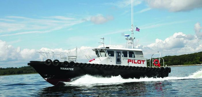 The Manatee, an upgraded Chesapeake-class pilot boat built by Gladding-Hearn for the Tampa Bay Pilots, is equipped with Volva Penta IPS drives. A similarly equipped boat on order for Virginia pilots is designed to make 32 knots top speed and save 25% on fuel. Gladding-Hearn photo.