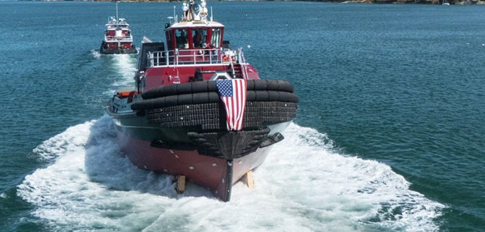 "The 93'x38'15'5"" tugboat Maxwell Paul Moran was launched Sept. 30 at Washburn & Doughty Associates shipyard in Maine. Washburn & Doughty photo."
