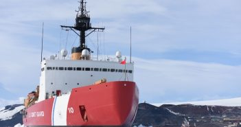 The heavy icebreaker Polar Star in McMurdo Sound, Antarctica near the National Science Foundation's McMurdo Station in 2016. U.S. Coast Guard photo/ PO2 Grant DeVuyst.