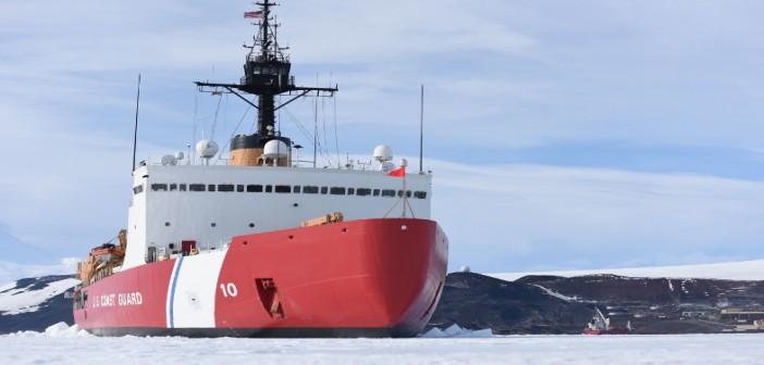 The heavy icebreaker Polar Star in McMurdo Sound, Antarctica near the National Science Foundation's McMurdo Station in 2016. U.S. Coast Guard photo/ PO2 Grant DeVuyst.