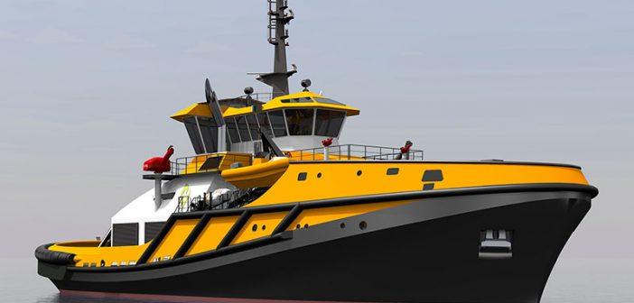 A rendering of the Robert Allan-designed RAincoast Guardian-class escort/rescue tug. Robert Allan photo.