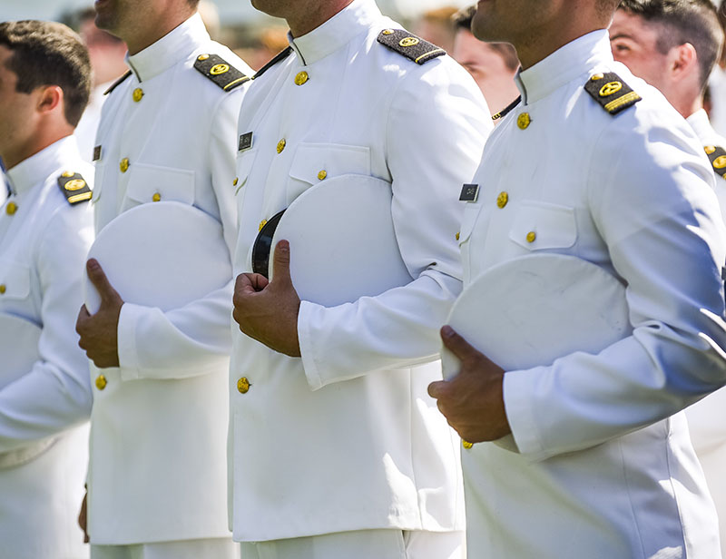 The 2016 graduating class of Kings Pointers stand during their graduation ceremony at the U.S. Merchant Marine Academy in Kings Point, NY, June 18. U.S. Army photo.