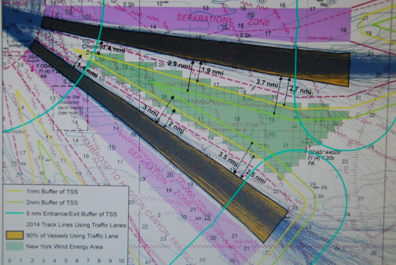 A compilation of AIS tracks in the separation lanes demonstrates BOEM's thinking that a 1 nautical mile buffer between the TSS lanes and the wind energy area is sufficient for navigation. BOEM photo.