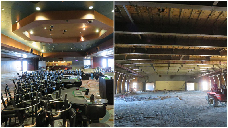 Before and after the interior of the casino boat Bettandorf Capri was gutted as part of its transformation to the American Duchess. American Queen Steamboat Co. photo.