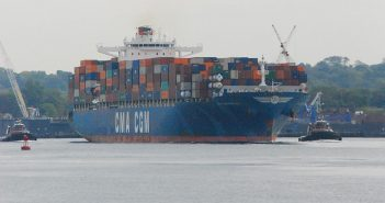 The 984', 6,540-TEU containership CMA CGM Nerval with Moran tugs inbound to Port Newark, N.J., via the Kill Van Kull. Kirk Moore photo.