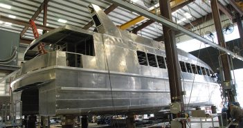Hull No. 2 for Citywide Ferry under construction at Metal Shark Boats in Franklin, La. Kirk Moore photo.