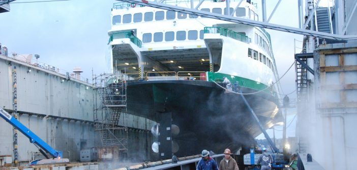The Washington State ferry Kaleetan in drydock at Vigor Industrial in Seattle. Kirk Moore photo