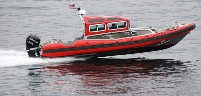The Life Proof 30' convertible response boat underway. Kirk Moore photo.