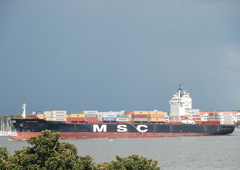 The containership MSC Jeanne inbound at Charleston harbor in September. Kirk Moore photo.
