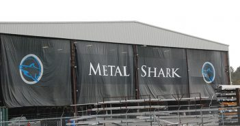 Metal Shark is constructing ferries for Hornblower New York at its Franklin, La. facility. Kirk Moore photo.