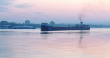 The freighter Roger Blough approaches the Soo Locks in Sault Ste. Marie, Mich., the gateway between Lake Superior and the lower Great Lakes. USACE photo.