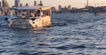 A Seattle duck boat in Lake Union. Ride the Ducks of Seattle photo.
