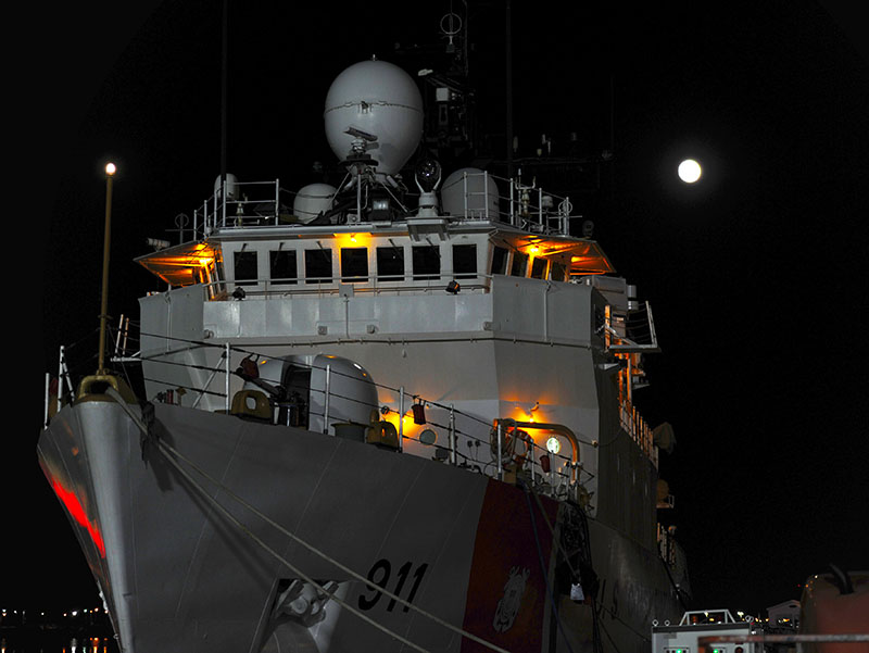 The supermoon shines over Coast Guard Cutter Forward at Coast Guard Base Portsmouth, Nov. 13, 2016. This supermoon was the nearest and brightest supermoon of 2016 and the largest since 1948. U.S. Coast Guard Photo by Coast Guard Petty Officer 3rd Class Corinne Zilnicki.
