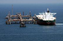 The oil tanker AbQaiq at Mīnā' al-Bakr Oil Terminal (MABOT), an off shore Iraqi oil installation. U.S. Navy photo.