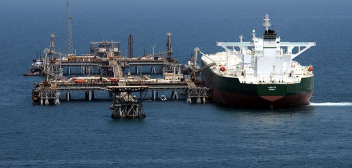 The oil tanker AbQaiq at Mīnā' al-Bakr Oil Terminal (MABOT), an off shore Iraqi oil installation. U.S. Navy photo.