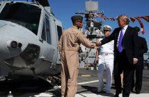 Donald Trump tours the flight deck of the amphibious assault ship USS Iwo Jima during Fleet Week New York City 2009. U.S. Navy photo.
