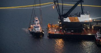 The crane barge DB Geberal lifts the Nathan E Stewart. Kyle Artelle/Heiltsuk First Nation photo.