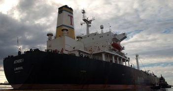 The Cyprus-flagged Athos I struck a partially buried anchor in November 2004, spilling 264,000 gals. of crude oil in the Delaware River. USCG photo.