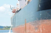 A vessel discharging ballast water. Photo: Maritime Environmental Resource Center.
