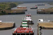 Barge tows transit the Colorado River Locks near Matagorda, Texas. USACE photo.
