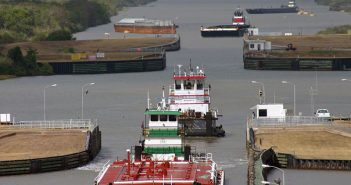 Barge tows transit the Colorado River Locks near Matagorda, Texas, in July 2013. USACE photo.