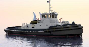 Jensen Maritime designed ship escort and ocean towing tug under construction for Baydelta Maritime. Jensen Maritime image.