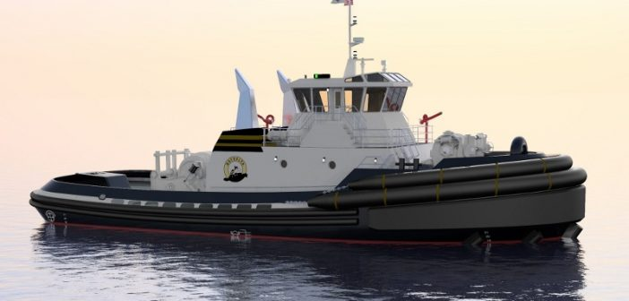 Jensen Maritime designed ship escort and ocean towing tug under construction for Baydelta Maritime. Jensen Maritime image.