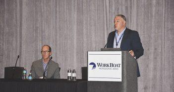 Chris DeWitt (left) and Steve Burke present on cybersecurity at the 2016 International WorkBoat Show. Doug Stewart photo.
