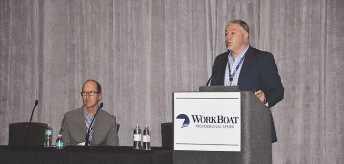 Chris DeWitt (left) and Steve Burke present on cybersecurity at the 2016 International WorkBoat Show. Doug Stewart photo.
