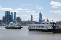 NY Waterway ferries at the company's Port Imperial terminal at Weehawken, N.J. Kirk Moore photo.
