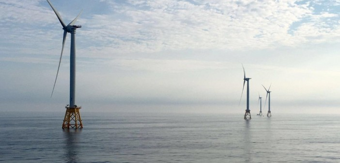 The Deepwater Wind power array off Block Island. Deepwater Wind photo.